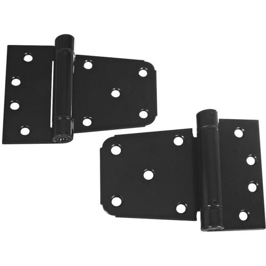 National 3-1/2 In. Black Heavy-Duty Gate Hinge Set (2 Count)