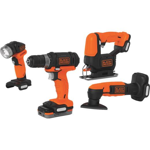 Black & Decker 4-Tool 12 Volt MAX Lithium-Ion Drill/Driver, Jig Saw, Detail Sander & Work Light GoPak Cordless Tool Combo Kit