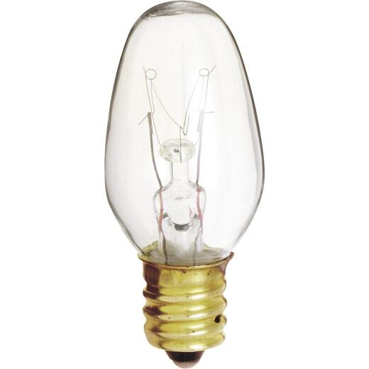 Satco 7W Clear Candelabra Base C7 Incandescent Night Light Bulb (2-Pack)