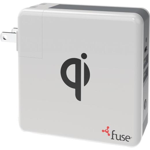 Fuse Dual USB & Micro USB White & Gray 3-In-1 Portable Qi Wireless Charger