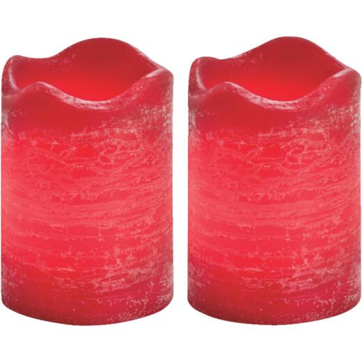 Inglow 2.5 In. H. x 2.5 In. Dia. Currant Rustic Wax Votive Flameless Candle (2-Pack)