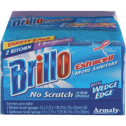 Brillo Estracell Variety Kitchen & Bath Scrub Sponges (3 Count)
