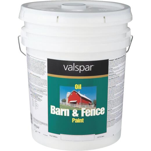 Valspar Oil Paint & Primer In One Low Sheen Barn & Fence Paint, White, 5 Gal.