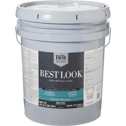 Best Look 100% Acrylic Latex Paint & Primer In One Satin Exterior House Paint, Bright White, 5 Gal.