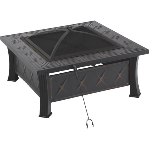 Outdoor Expressions 32 In. Antique Bronze Square Fire Pit