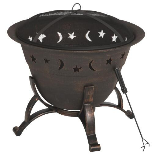Outdoor Expressions 29 In. Moon & Stars Antique Bronze Round Cast Iron Fire Pit