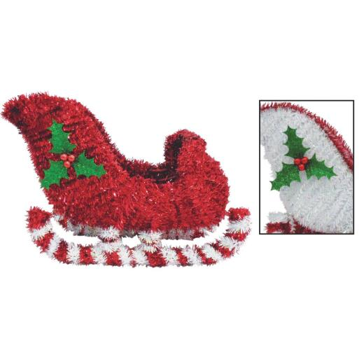 Youngcraft 9 In. Tinsel Sleigh Holiday Decoration